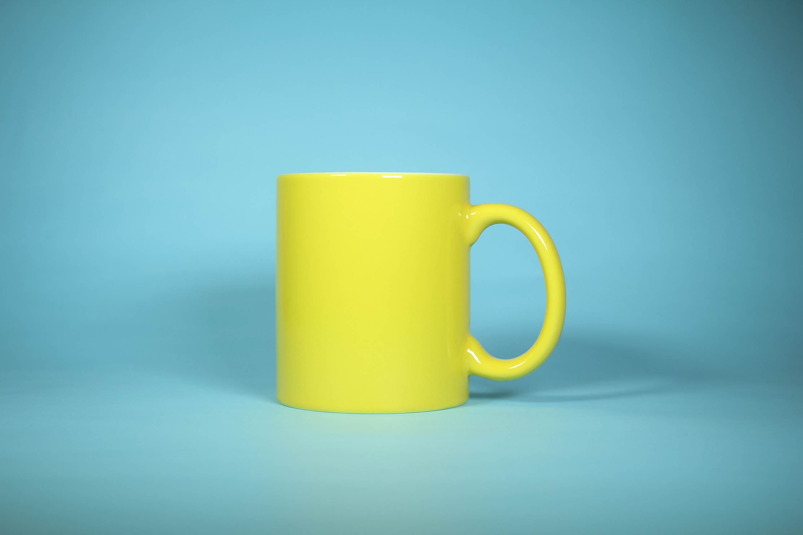 This is a mug we shot in the studio. The photographers used a blue construction paper as a backdrop.